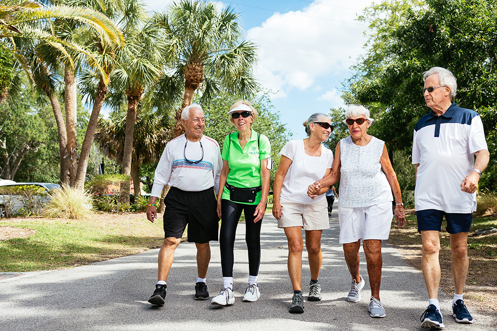 Group of Seniors Taking a Walk Outside